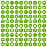 100 home icons hexagon green. 100 home icons set in green hexagon isolated vector illustration stock illustration