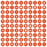 100 home icons hexagon orange Royalty Free Stock Images