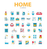 Home icons, house related objects, vector icons in color, line s Royalty Free Stock Images