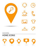 Home icons with pointers Royalty Free Stock Photography