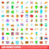 100 home icons set, cartoon style Stock Images