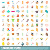 100 home icons set, cartoon style. 100 home icons set in cartoon style for any design vector illustration Stock Images