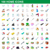 100 home icons set, cartoon style Royalty Free Stock Photography