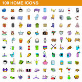 100 home icons set, cartoon style. 100 home icons set in cartoon style for any design vector illustration Stock Photography