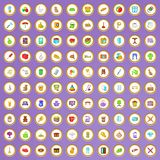 100 home icons set in cartoon style. On purple background vector illustration Stock Images