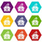 Home icons set 9 vector. Home icons 9 set coloful isolated on white for web vector illustration