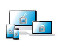 Home icons on a set of electronics Royalty Free Stock Photos