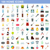 100 home icons set, flat style Royalty Free Stock Image