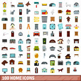 100 home icons set, flat style. 100 home icons set in flat style for any design vector illustration Royalty Free Stock Image