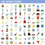 100 home icons set, flat style. 100 home icons set in flat style for any design illustration stock illustration