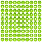 100 home icons set green circle. Isolated on white background vector illustration Royalty Free Stock Photography