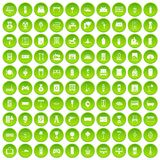 100 home icons set green. 100 home icons set in green circle isolated on white vectr illustration Royalty Free Stock Images