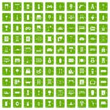100 home icons set grunge green. 100 home icons set in grunge style green color isolated on white background vector illustration Vector Illustration