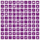 100 home icons set grunge purple. 100 home icons set in grunge style purple color isolated on white background vector illustration Vector Illustration