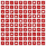 100 home icons set grunge red Royalty Free Stock Photography