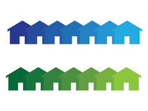 Home icons. Set of home or house icons in blue and green Royalty Free Stock Images