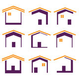 Home icons. Set of home or house icons in multiple colors Royalty Free Stock Images