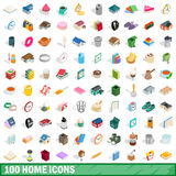 100 home icons set, isometric 3d style. 100 home icons set in isometric 3d style for any design vector illustration Stock Photos