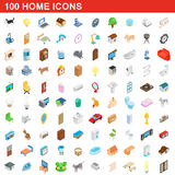100 home icons set, isometric 3d style. 100 home icons set in isometric 3d style for any design vector illustration Royalty Free Stock Photography
