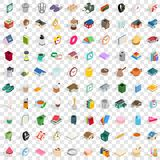 100 home icons set, isometric 3d style. 100 home icons set in isometric 3d style for any design vector illustration Royalty Free Stock Photos