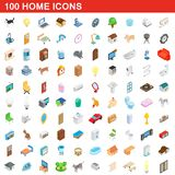 100 home icons set, isometric 3d style. 100 home icons set in isometric 3d style for any design illustration vector illustration