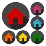 Home icons set with long shadow. Vector icon vector illustration