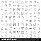 100 home icons set, outline style. 100 home icons set in outline style for any design vector illustration vector illustration