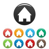 Home icons set. Simple set of home icons in different colors isolated on white stock illustration