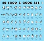 Home icons vector. 50 blue vector food & cook icons, emblem, tag set 1. background with design set element theme food and cooking royalty free illustration