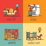 Home illustration. Hand drawn doodles of home areas such as living room, kitchen, wardrobe, children's room stock illustration