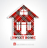 Home illustration on tweed. Stock Photo