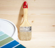 Home improvement. Painting brush and gamut prints (created and made by me) selective focus Royalty Free Stock Image