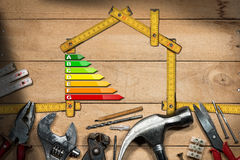 Home Improvement Concept - Energy Efficiency. Home improvement concept - Wooden ruler in the shape of a house with energy efficiency rating on a wooden work Royalty Free Stock Photo
