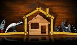 Home Improvement concept - House and work tools stock image