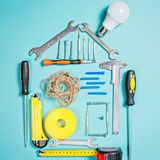 Home improvement concept. Set work hand tool for construction or repair of house Royalty Free Stock Images