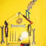 Home improvement concept. Set work hand tool for construction or repair of house Stock Images