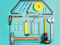 Home improvement concept. Set work hand tool for construction or repair of house Stock Photography