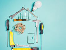 Home improvement concept. Set work hand tool for construction or repair of house Stock Photo
