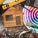 Home Improvement Concept - Work Tools and House Royalty Free Stock Images