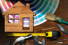 Home Improvement Concept - Work Tools and House stock photo