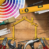 Home Improvement Concept - Work Tools and House Stock Photography