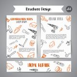 Home improvement construction tools hand drawn brochure. Bussiness banner, advert Royalty Free Stock Images