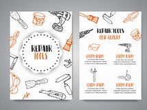 Home improvement construction tools hand drawn brochure. Bussiness banner, advert Royalty Free Stock Photography