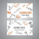 Home improvement construction tools hand drawn brochure. Bussiness banner, advert Stock Photo