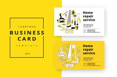 Home improvement corporate business card with repair tools. Hous. E construction id template. Renovation background for professional carpenter, handyman, builder Stock Images