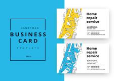 Home improvement corporate business card with repair tools. Hous. E construction id template. Renovation background for professional carpenter, handyman, builder Royalty Free Stock Image