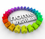 Home Improvement 3d Houses Words Building Project Renovation. Home Improvement words in 3d letters surrounded by a ring of colorful houses to illustrate a Royalty Free Stock Image
