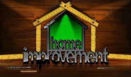 Home Improvement Symbol with Wooden Ruler. Home improvement - 3D illustration of a symbol in the shape of a house with a wooden folding ruler. On a desk with Stock Photography
