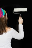Home improvement - girl with roller Royalty Free Stock Photos