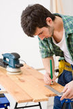 Home improvement - handyman prepare wooden floor Stock Photography